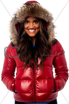 Beautiful girl wearing winter jacket