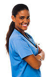 Confident smiling female physician