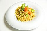 Pasta fettuccine with salmon