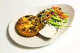 Pie with chopped vegetable and mayonnaise