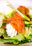 Smoked salmon with cream and salad