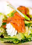 Smoked salmon with cream and salad