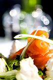 Closeup of smoked salmon salad