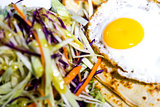 Fried egg and coleslaw, rich breakfast
