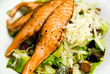 Fresh salmon steak, closeup image