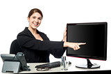 Lady pointing something on computer screen