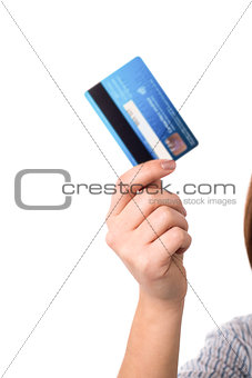 Cropped image of woman with cash card