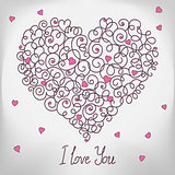 Greeting card with floral heart shape. I love You sign