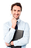 Corporate man holding important file