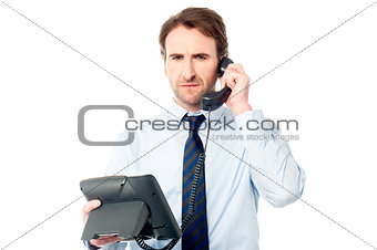 Business professional attending call