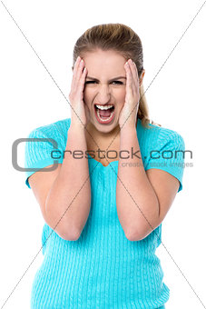 Angry female model yelling