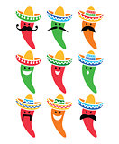 Chili pepper in Mexican Sombrero hat with mustache icons