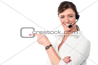 Attractive female customer support staff