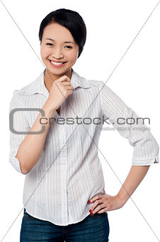 Casual young chinese girl, smiling portrait