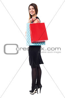 Charming pretty shopaholic woman