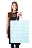 Pretty young model presenting a shopping bag