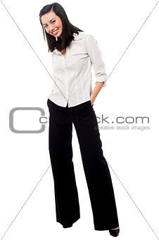 Casual asian businesswoman posing