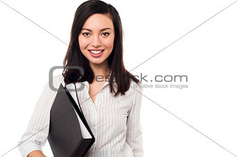 Corporate lady holding business files