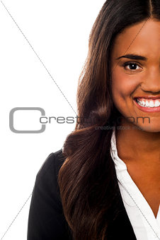 Cropped image of a smiling corporate lady