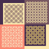 Set of four seamless patterns. Vintage geometric ornaments.
