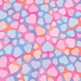 Abstract 3D background with colorful hearts.  Vector illustration