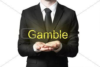 businessman begging gesture gamble