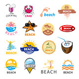 biggest collection of vector logos beach, palm trees, sea
