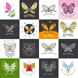 large set of vector logos butterflies
