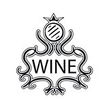 ornate vector logo with crown and cask wine