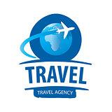 vector logo airplane flying around the globe