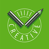 vector logo broken pencil on a green background