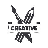 vector logo brush and pencil for creativity