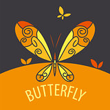 vector logo butterfly on bright background