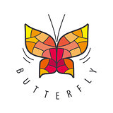 vector logo butterfly patterns of red