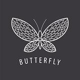 vector logo elegant white butterfly petal