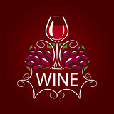 vector logo glass of wine and grapes on burgundy background