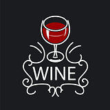 vector logo glasses of wine on a black background
