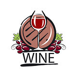 vector logo red wine barrel and the vine