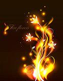Vector fire flowers.