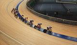 bicycle race at racetrack tilt  shot