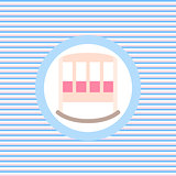Baby bed color flat icon