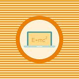 Scientific formula on a laptop color flat icon