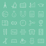 Education and school thin lines icons set