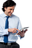 Business professional browsing on tablet pc