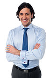 Handsome smiling business executive