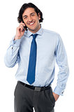 Smiling manager communicating with client