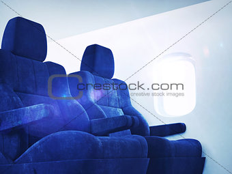 Airplane interior with sun light