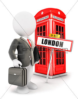 3d white people businessman in London