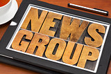 newsgroup word typography on tablet