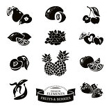 Icon set of fruits and berries